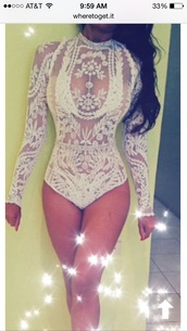 top,bodysuit,lace top,lace,bejeweled,white,sheer,mesh top,one piece,art