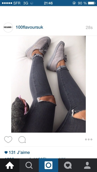 grey jean destroyed skinny jeans grey jeans all grey everything pink nails shoes adidas originals sneakers adidas style love pretty girls sneakers fashion superstar grey shoes adidas pharell williams ripped jeans outfit made streetstyle trainers ripped urban wool nails monochrome brown tumblr skinny jeggings comfy cute adidas superstars adidas superstars pastel  pink adidas shoes solid grey