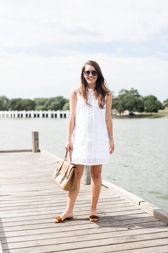 dallas wardrobe // fashion & lifestyle blog // dallas - fashion & lifestyle blog blogger dress bag sunglasses slide shoes white dress mini dress satchel bag summer outfits