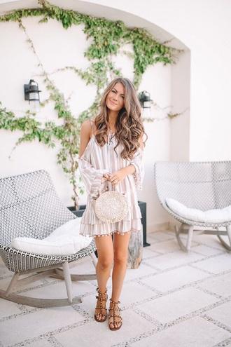 dress mini dress striped dress flat sandals bag stripes cut-out cut-out dress sandals