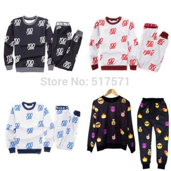 Women and men 2pcs /set 100 emoji joggers and sweatshirt set sport suit sportswear tracksuit costume on aliexpress.com