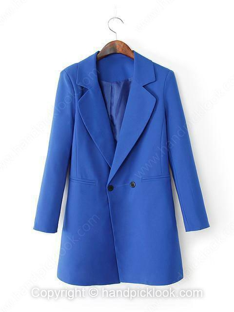 Blue Contrast Lapel Long Sleeve Button Blazer - HandpickLook.com
