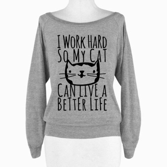 grey style fashion pullover letters workforcat statement statement shirt cats clothes fall outfits fall sweater