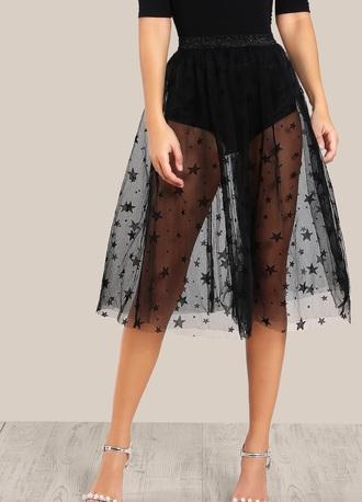 skirt girly black mesh see through stars