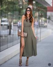 dress,green dress,tumblr,slit dress,olive green,halter neck,halter dress,bag,clutch,sandals,sandal heels,high heel sandals,date outfit,sunglasses,shoes