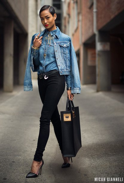 jacket denim shirt denim jacket black skinny jeans black stilettos black bag blogger