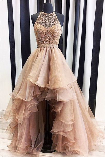 dress, plus size prom dress, a lines prom dresses, champagne prom ...