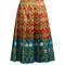 Floral-print pleated silk-satin skirt