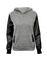 Faux leather sleeve hoodie