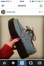 shoes,creepers,light blue,t.u.k,instagram,pois