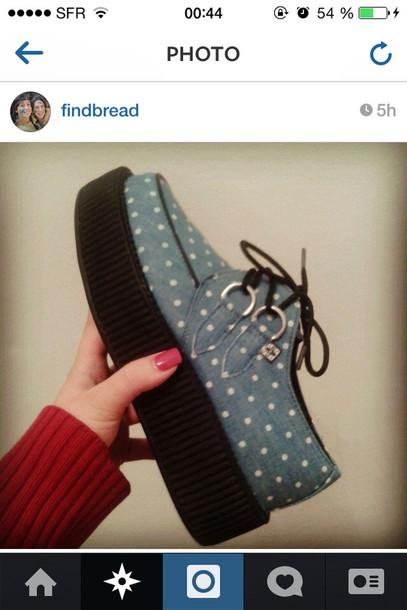 shoes creepers light blue t.u.k instagram pois