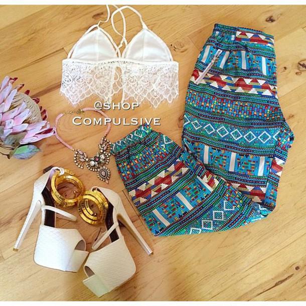 pants fashion style boho chic pattern cute top