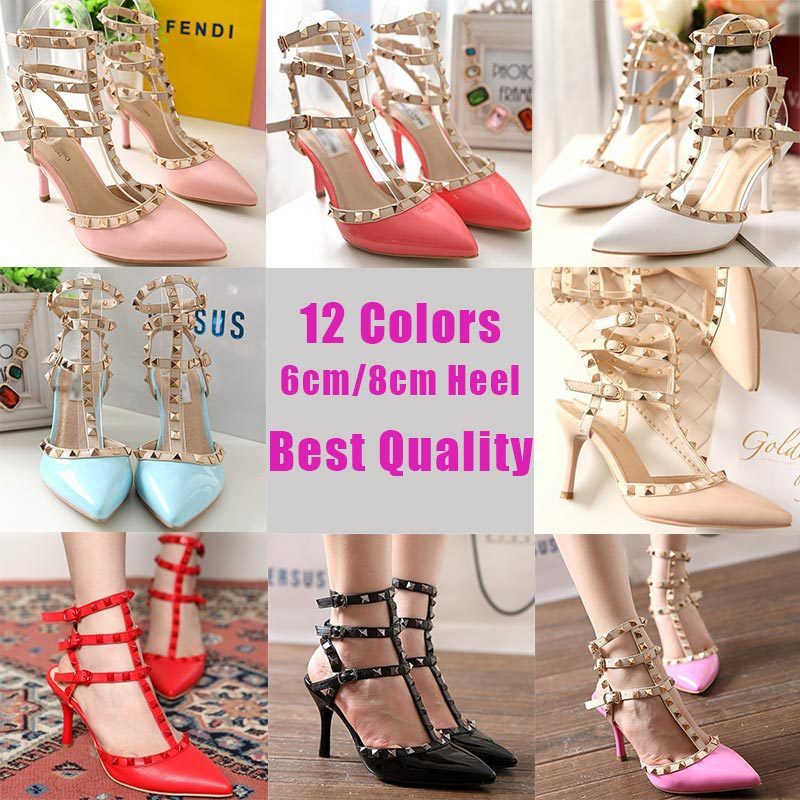 New Fashion 2013 Summer Red Hot Pink Pointed Toe Ankle Strap Heels White Bridal Rivet Shoes For Women High heel size 4.5 35 40-in Pumps from Shoes on Aliexpress.com