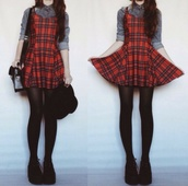 tartan,tartan dress,red dress,cool girl style,grunge,girl,punk,creeper,nice,alternative,shirt,dress,plaid,red,black,skater dress,skater,style,fashion
