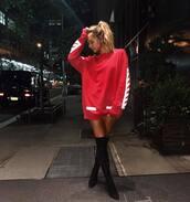 sweater,tumblr,red sweater,sweatshirt,boots,black boots,over the knee boots,over the knee,top,red,sweater dress,alexis ren,fashion week 2016,fashion week,dress