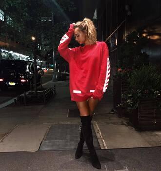 sweater tumblr red sweater sweatshirt boots black boots over the knee boots over the knee top red sweater dress alexis ren fashion week 2016 fashion week dress