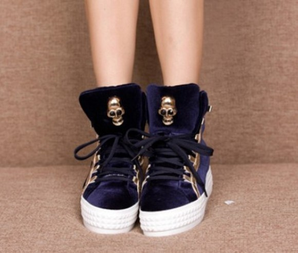 shoes platform shoes blue purple skull skull head platform platform sneakers velour