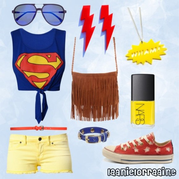 star blue yellow converse red shirt nars superman aviators nail polish lightening lightning bolt
