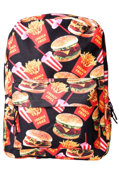 bag hamburger food backpack bookbag foodporn iwannaeatit we hungry mcdonalds hipster french fries dollskill