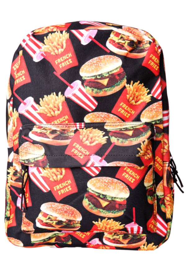 bag food bookbag foodporn iwannaeatit hamburger we hungry mcdonalds backpack hipster fries dollskill