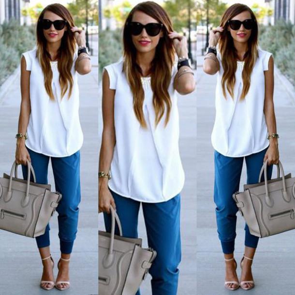 d0f9c540971f shoes white nude boyfriend jeans white top white tank top sleeveless white  blouse sleeveless blouse casual