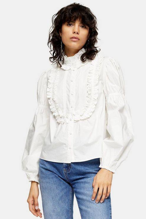 White Victoriana Puff Sleeve Top - White