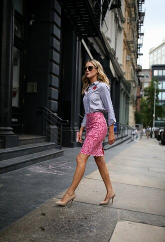 memorandum blogger top skirt shoes sunglasses bag shirt blue shirt lace skirt pink skirt summer outfits pumps