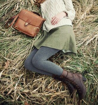 tights boots skirt warm satchel bag knitted sweater