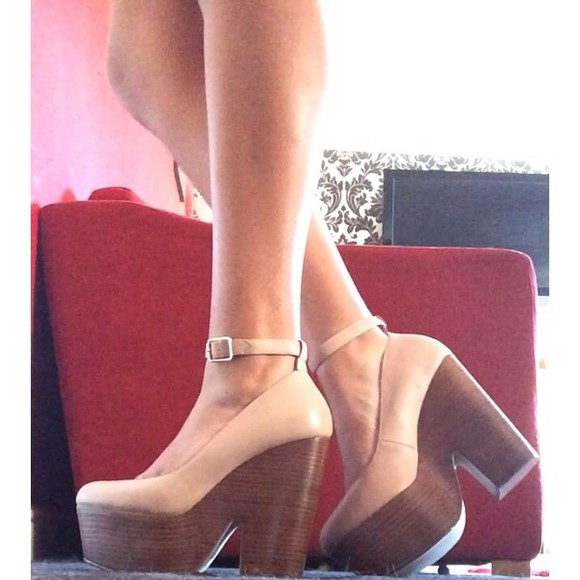 shoes wedge high heels high block heel ankle strap nude nude high heels platform