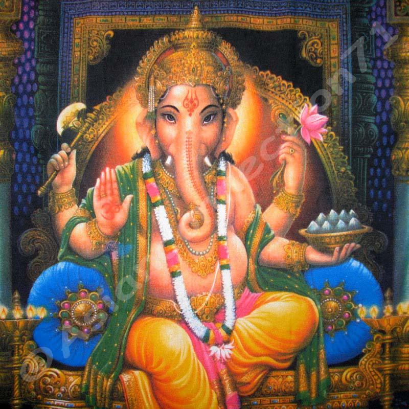 Hindu Poster Art: Lord Ganesh Hindu Ganapati God Fine Art Hand Print T Shirt