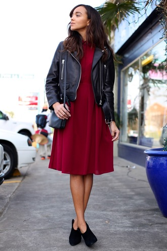 ring my bell blogger burgundy sweater leather jacket