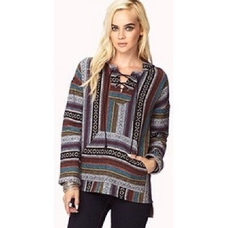 sweater lace up jumper multicolor