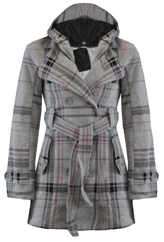 LADIES BELTED BUTTON MILITARY CHECK COAT WOMENS HOODED WINTER JACKET SIZE 8-14   Amazing Shoes UK