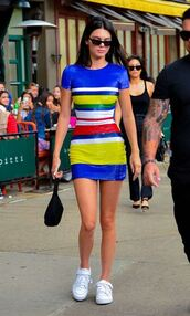 dress,mini dress,stripes,striped dress,kendall jenner,kardashians,sneakers,model off-duty,celebrity,colorful