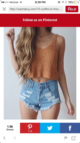 shirt orange mustard knitted top orange crop top ripped shorts blue crop tops high waisted shorts shorts