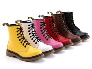 Big Plus Size Women 8 Eye 1460 Lace Up Flat Military Combat Ankle Boots Cherry Black Brown Yellow Genuine Leather  Size34 39-inBoots from Shoes on Aliexpress.com