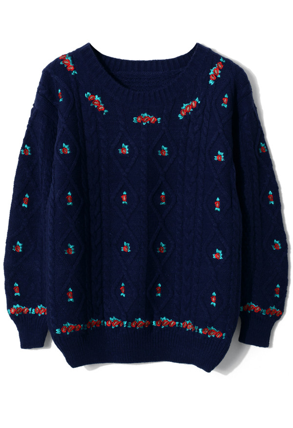 sweater floral embroidered cable knit navy