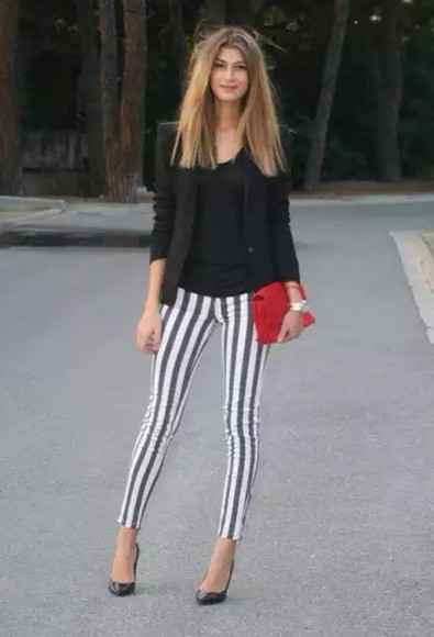 stripes pants black white