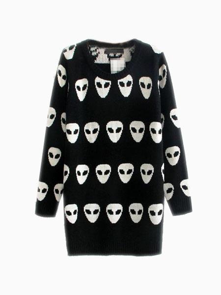 Oversize Sweater In Invasion Intarsia   Choies