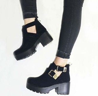 shoes boots lug sole low heels buckles mid heel boots