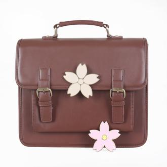 bag brown cute flowers fashion style kawaii girly purse messenger bag bucket bag back to school