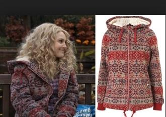 jacket woolen the carrie diaries carrie bradshaw carrie diaries aztec wool hooded aztec hoodie hooded jacket furlined