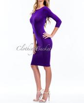midi dress,midi,body-con,tight,purple,clothes,dress,long sleeves,scoop neck,clubwear