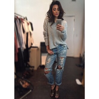 jeans ripped jeans shay mitchell sweater mules boyfriend jeans blouse