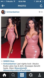 kim kardashian dress,dress,patent leather,blush pink,midi dress,pink nude latex