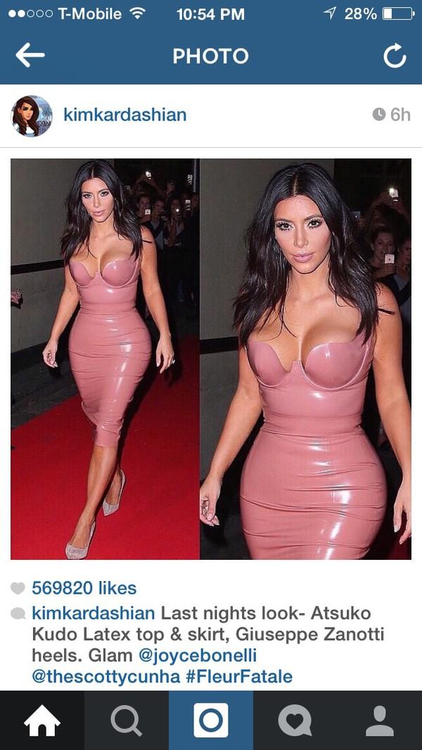 kim kardashian dress dress patent leather blush pink midi dress pink nude latex