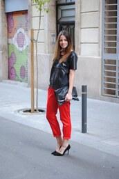 zina,fashion vibe,red pants,pants