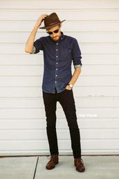stay classic,blogger,sunglasses,menswear,mens shirt,denim,mens accessories,mens skinny jeans,mens fedora