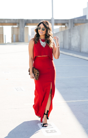hauteofftherack,blogger,bag,sunglasses,jewels,shoes,red dress,maxi dress,slit dress,necklace,clutch,animal print bag,high heel sandals,sandals