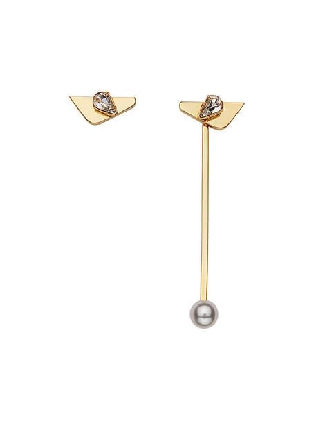 Fendi women earrings grey metallic jewels